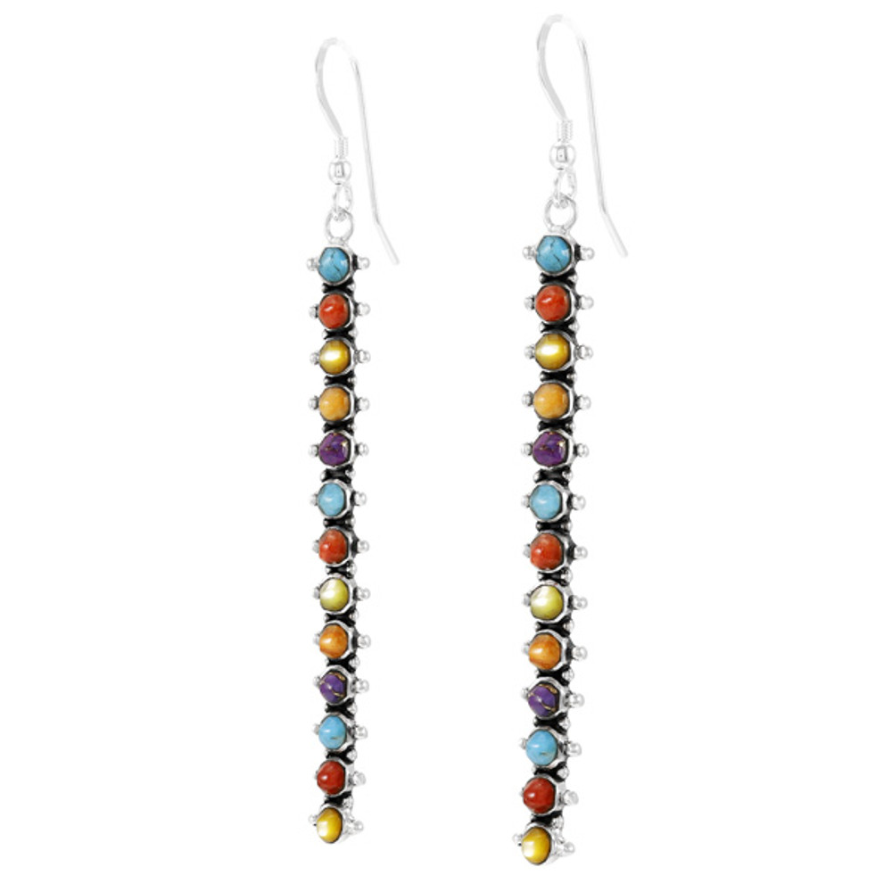 Multi Gemstone Drop Earrings Sterling Silver E1351-C71