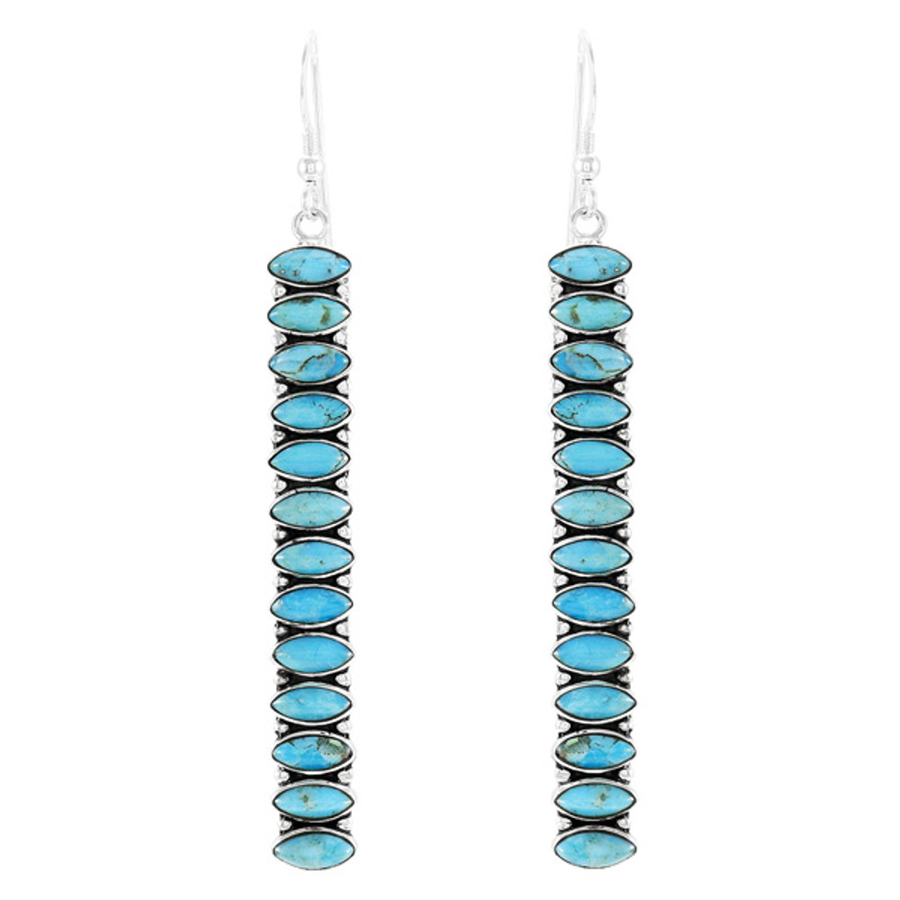 Sterling Silver Drop Earrings Turquoise E1352-C75