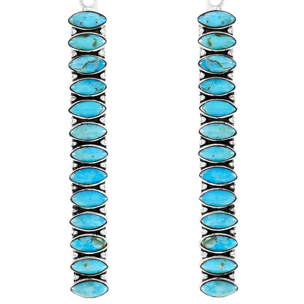 Sterling Silver Drop Earrings Turquoise E1352-C75