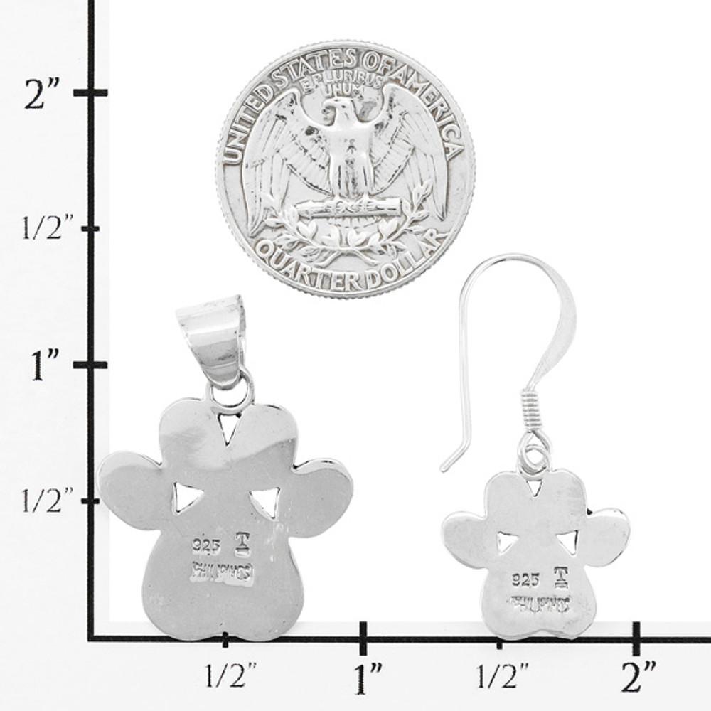 Dog Paw Multi-Gemstone Pendant & Earrings Set Sterling Silver PE4059-C71