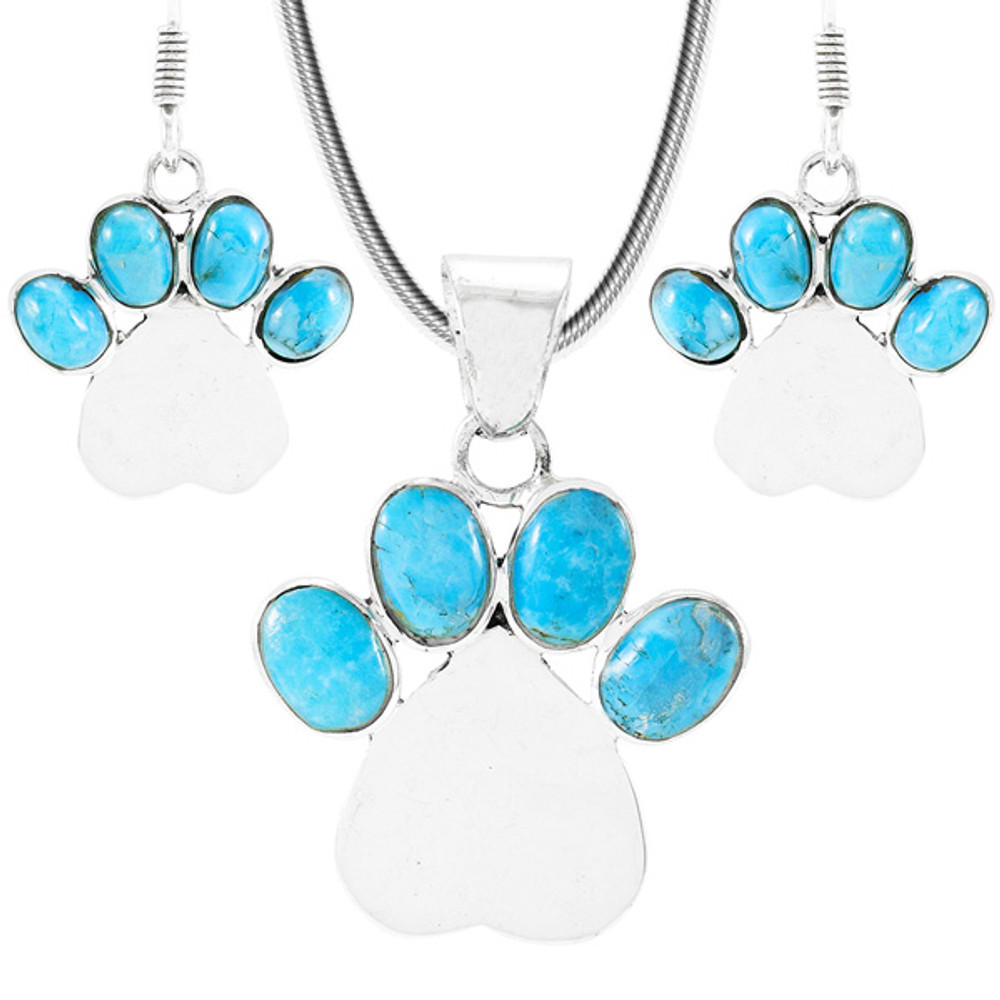 Dog Paw Turquoise Pendant & Earrings Set Sterling Silver PE4059-C75