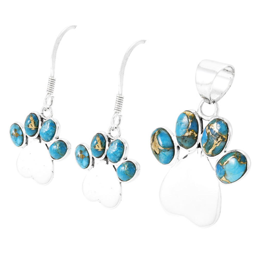 Dog Paw Matrix Turquoise Pendant & Earrings Set Sterling Silver PE4059-C84