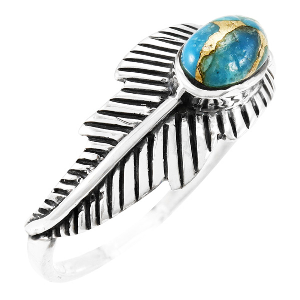 Matrix Turquoise Feather Ring Sterling Silver R2474-C84