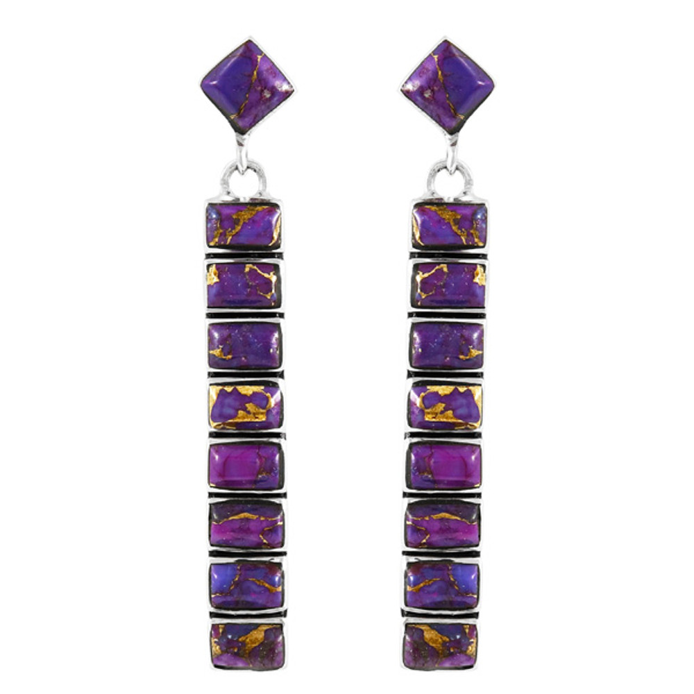 Purple Turquoise Earrings Sterling Silver E1305-C77