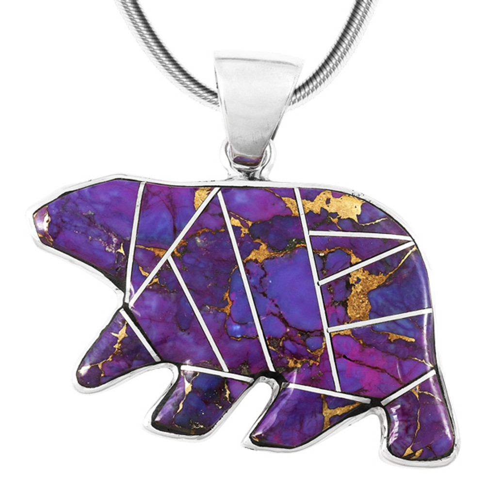 Purple Turquoise Bear Pendant Sterling Silver P3052-C07