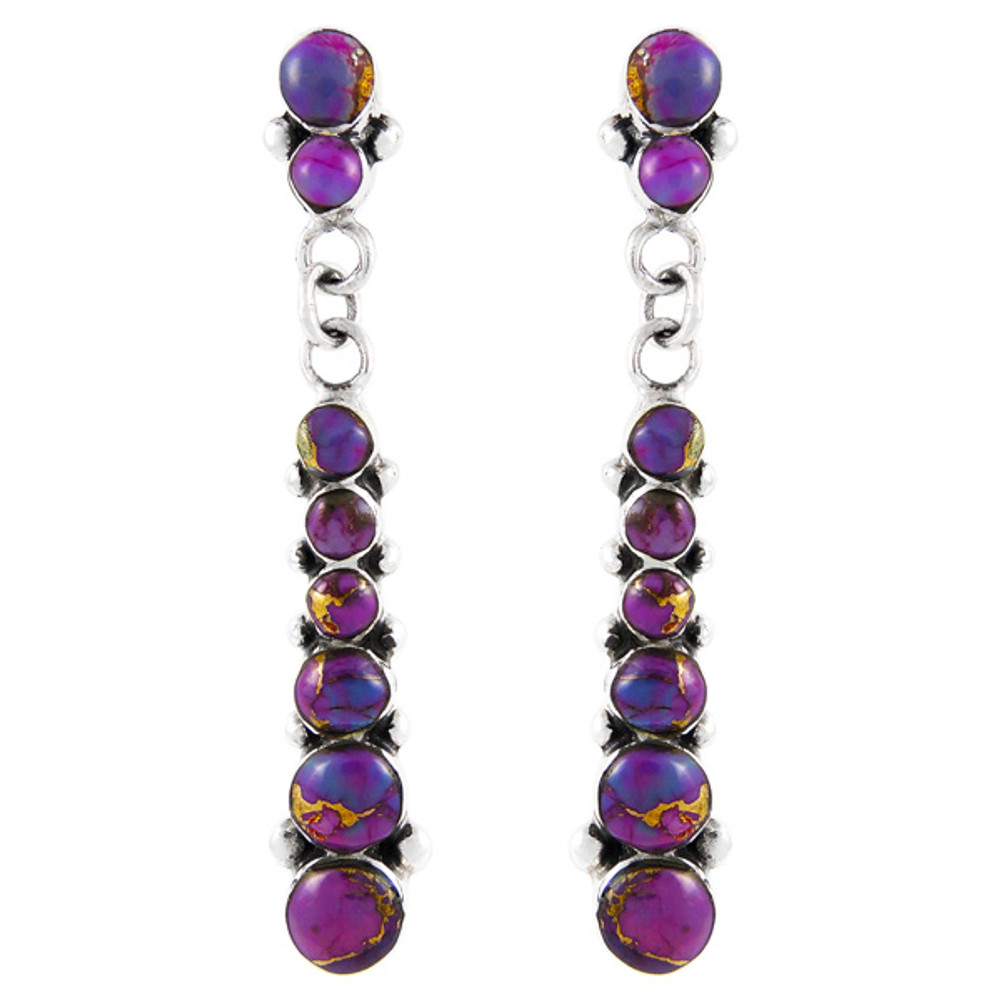 Purple Turquoise Earrings Sterling Silver E1126-C77