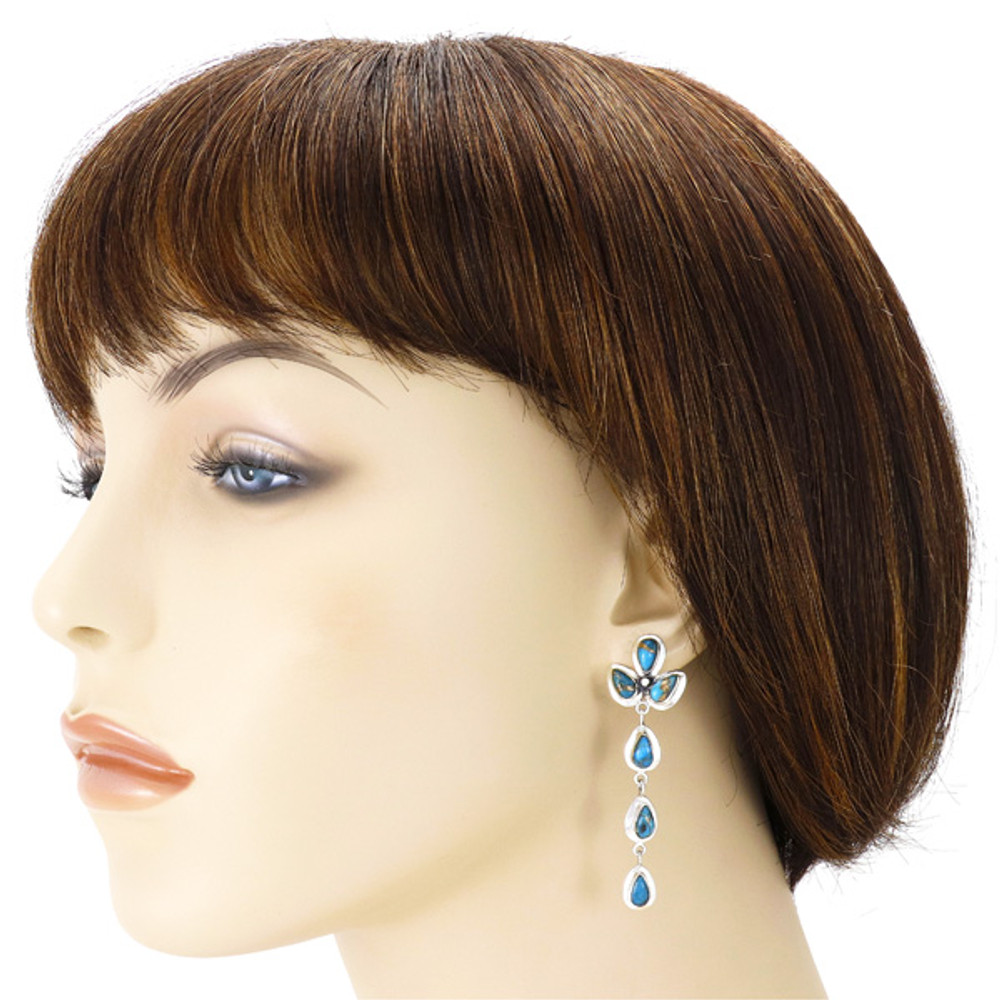 Matrix Turquoise Chandelier Earrings Sterling Silver E1204-LG-C84
