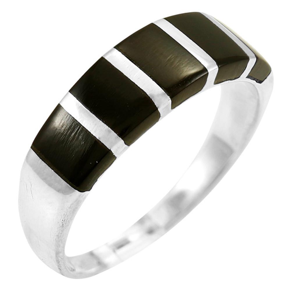 Black Shell Ring Sterling Silver R2465-C11