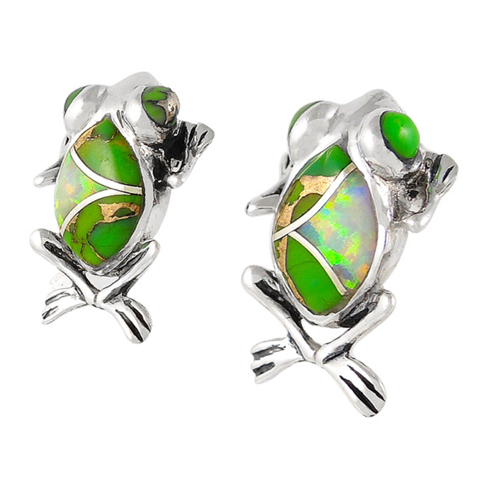 Frog Green Turquoise Earrings Sterling Silver E1127-C22
