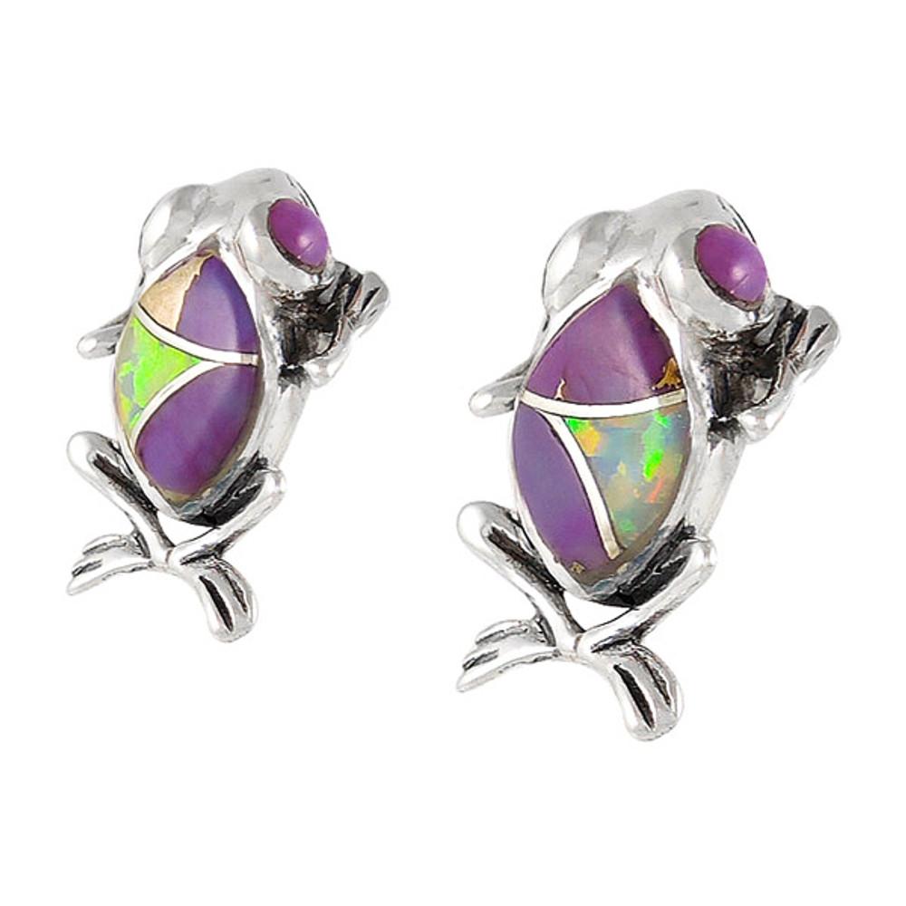 Frog Purple Turquoise Earrings Sterling Silver E1127-C23