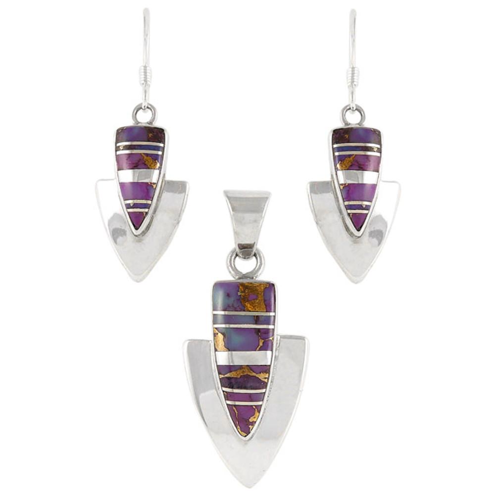 Purple Turquoise Pendant & Earrings Set Sterling Silver PE4001-C07