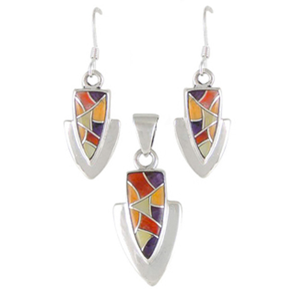 Multi Gemstone Pendant & Earrings Set Sterling Silver PE4001-C36