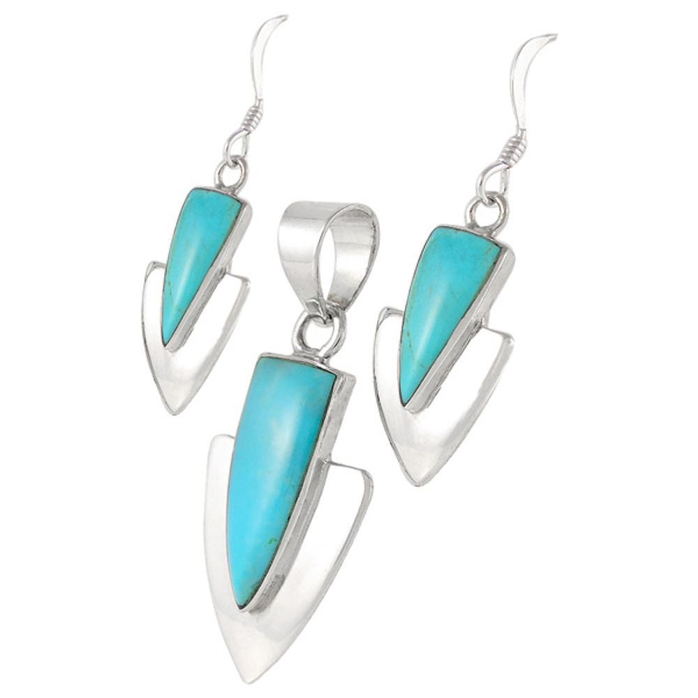 Turquoise Pendant & Earrings Set Sterling Silver PE4001-C75