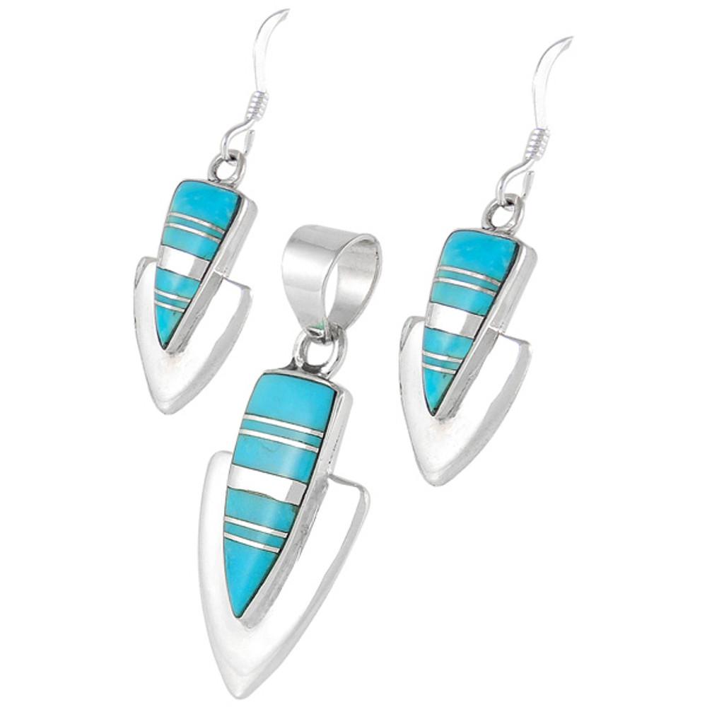 Turquoise Pendant & Earrings Set Sterling Silver PE4001-C05