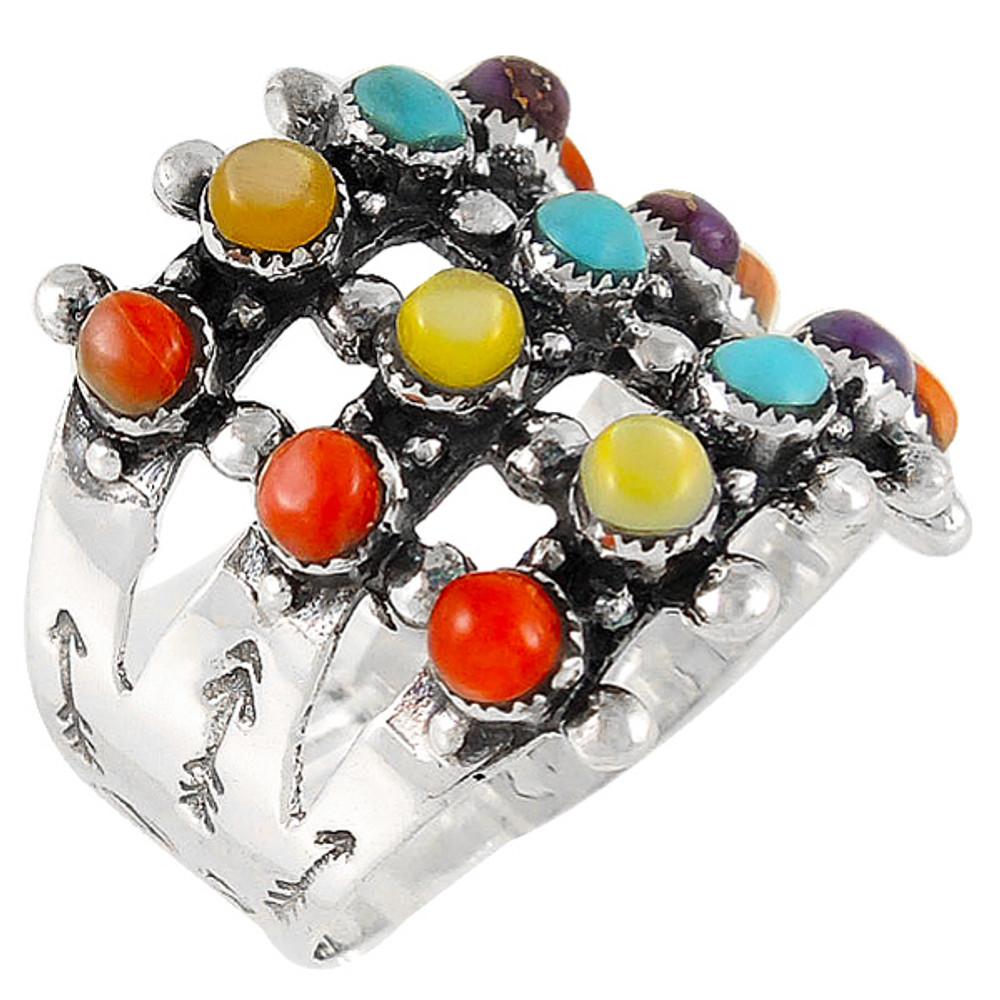 Multi Gemstone Ring Sterling Silver R2022-C71