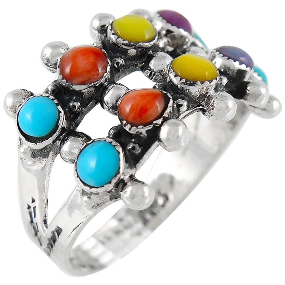 Multi Gemstone Ring Sterling Silver R2035-C71