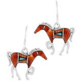 Sterling Silver Horse Earrings Multi Gemstones E1054-C03