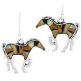 Sterling Silver Horse Earrings Multi Gemstones E1054-C34-B