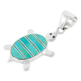 Sterling Silver Turtle Pendant Turquoise P3069-C05