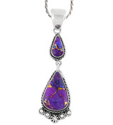 Sterling Silver Dangle Pendant Purple Turquoise P3061-C77