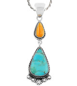 Sterling Silver Dangle Pendant Multi Gemstone P3061-C86