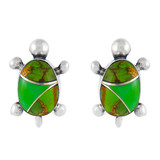Sterling Silver Turtle Earrings Green Turquoise E1083-C06