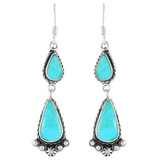 Turquoise Drop Earrings Sterling Silver E1107-C75