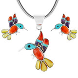 Sterling Silver Hummingbird Pendant & Earrings Set Multi Gemstones PE4019-C01