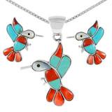Sterling Silver Hummingbird Pendant & Earrings Set Multi Gemstones PE4019-C46