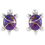 Sterling Silver Turtle Earrings Purple Turquoise E1083-C07