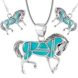 Sterling Silver Horse Pendant & Earrings Set Turquoise PE4016-C05