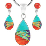 Sterling Silver Pendant & Earrings Set Multi Gemstone PE4023-SM-C02
