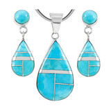 Sterling Silver Pendant & Earrings Set Turquoise PE4023-SM-C05
