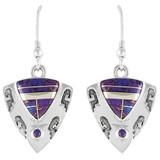 Sterling Silver Earrings Purple Turquoise E1156-C07
