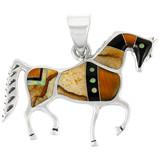 Sterling Silver Horse Pendant Multi Gemstone P3048-C34