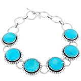 Turquoise Link Bracelet Sterling Silver B5510-C75