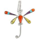Sterling Silver Dragonfly Pendant Multi Gemstone P3054-C01