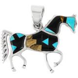 Sterling Silver Horse Pendant Multi Gemstone P3048-C04