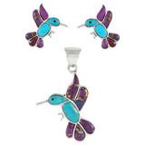 Sterling Silver Hummingbird Pendant & Earrings Set Multi Gemstones PE4019-C96