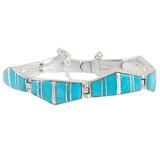 Turquoise Link Bracelet Sterling Silver B5515-C05