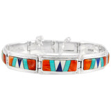 Multi Gemstone Link Bracelet Sterling Silver B5520-C00