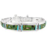 Multi Gemstone Link Bracelet Sterling Silver B5520-C01