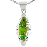 Sterling Silver Pendant Green Turquoise P3097-C06