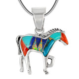Sterling Silver Horse Pendant Turquoise P3109-C00