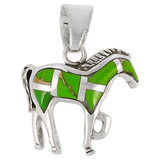 Sterling Silver Horse Pendant Green Turquoise P3109-C06