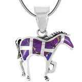 Sterling Silver Horse Pendant Purple Turquoise P3109-C07