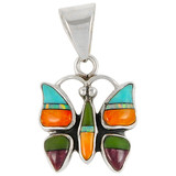 Sterling Silver Butterfly Pendant Turquoise P3111-C01