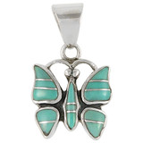Sterling Silver Butterfly Pendant Turquoise P3111-C05