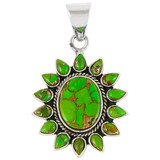 Sterling Silver Pendant Green Turquoise P3112-C76