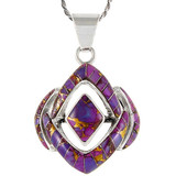 Sterling Silver Pendant Purple Turquoise P3115-C07